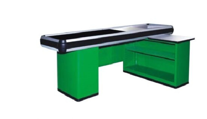 Custom Metal Supermarket Checkout Counter With Conveyor Belt Cash Register