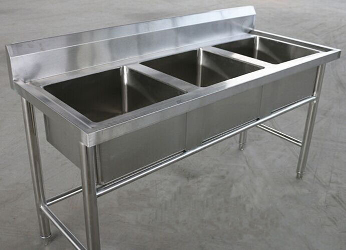 Restaurant Three Tubs Stainless Steel Kitchen Sink Commercial 1800 x 600 x 850MM