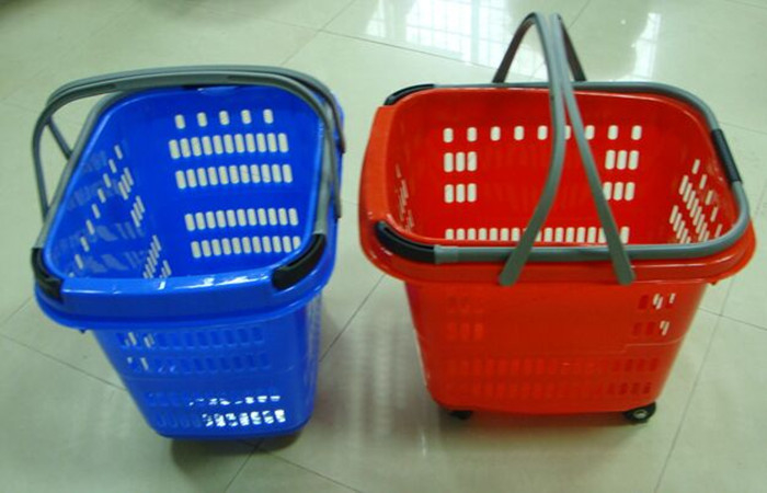 Colored Telescopic Handle Plastic Shopping Basket With Wheels 50 Litres