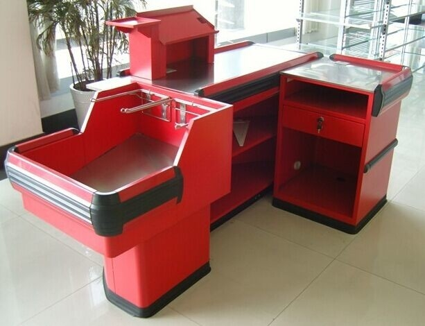Industrial Metal Supermarket Checkout Counter / Retail Cash Table With Bag Holder