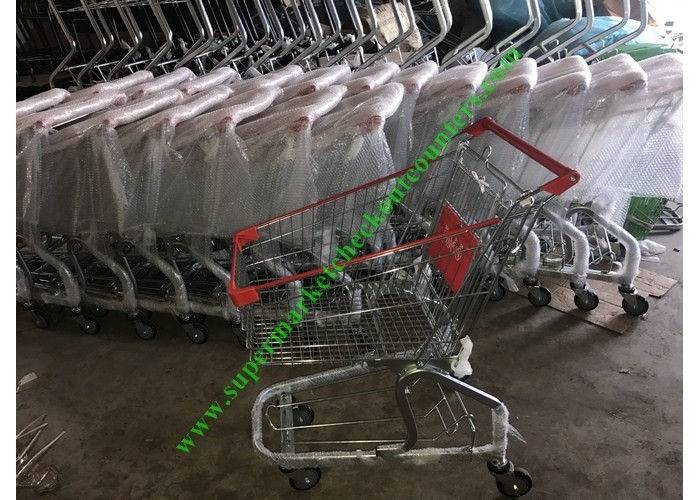 Zinc And Powder Coating Supermarket Shopping Cart / Steel Mesh Hand Trolley