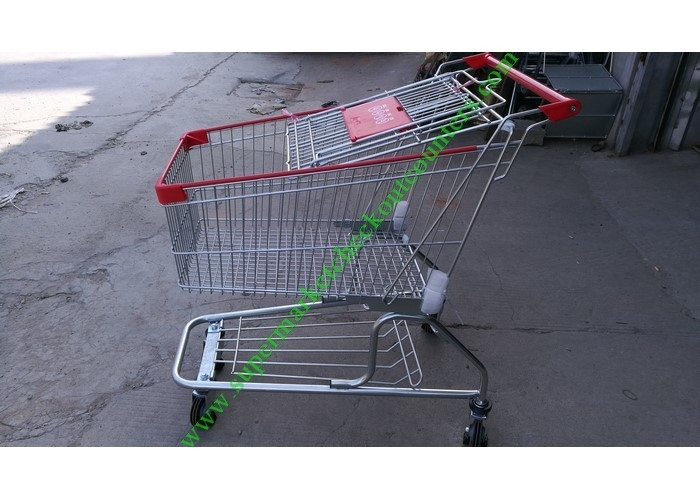 150 Litres Wire Shopping Trolley For Mall , American Style Steel Hand Push Cart