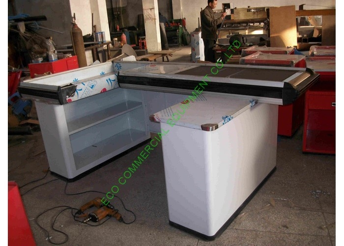 White Supermarket & Retail Store Cash Wrap Counter Table With Conveyor Belt
