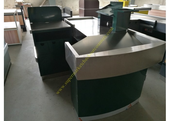 Stable Retail Metal Cashier Checkout Counter Dark Green Floor Standing