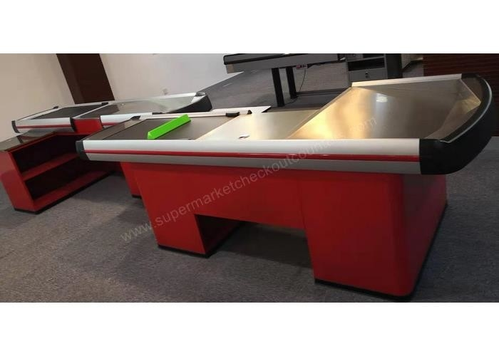 Red Electric Retail Outlet Cashier Checkout Counter / Automatic Cash Register Table